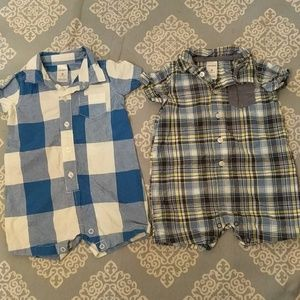 9 Months Baby Boy Plaid Rompers with collar